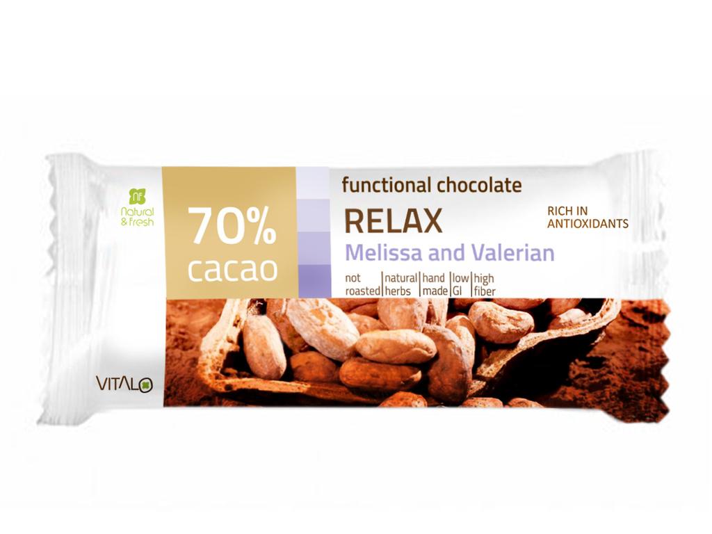 VITALO Funkční čokoláda RELAX, Melissa and Valerian, 70% cacao 25 g