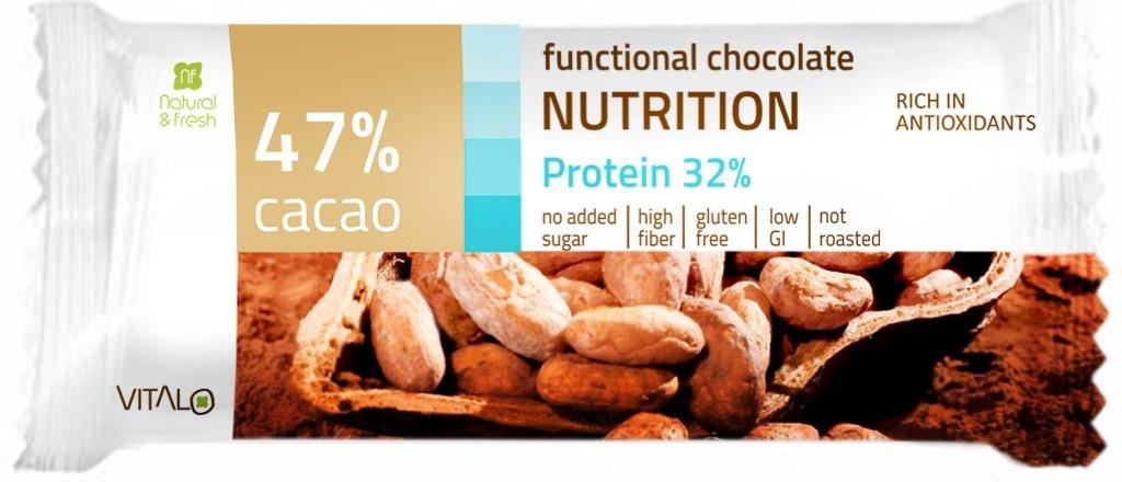 VITALO Funkční čokoláda NUTRITION, Protein 32%, Cacao 47% 25 g
