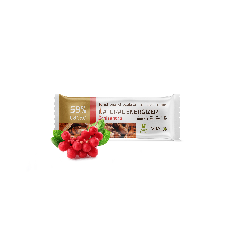 VITALO Funkční čokoláda NATURAL ENERGIZER, schizandra, cacao 60% 25 g