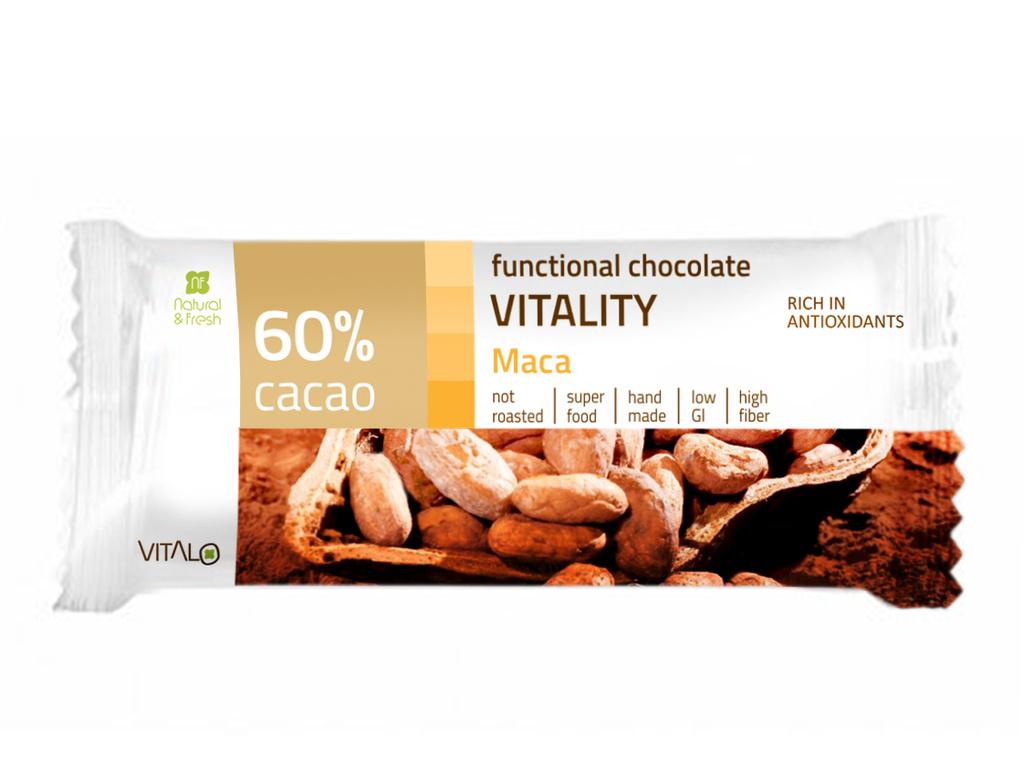 VITALO Funkční čokoláda VITALITY, Maca, 60% cacao 25 g