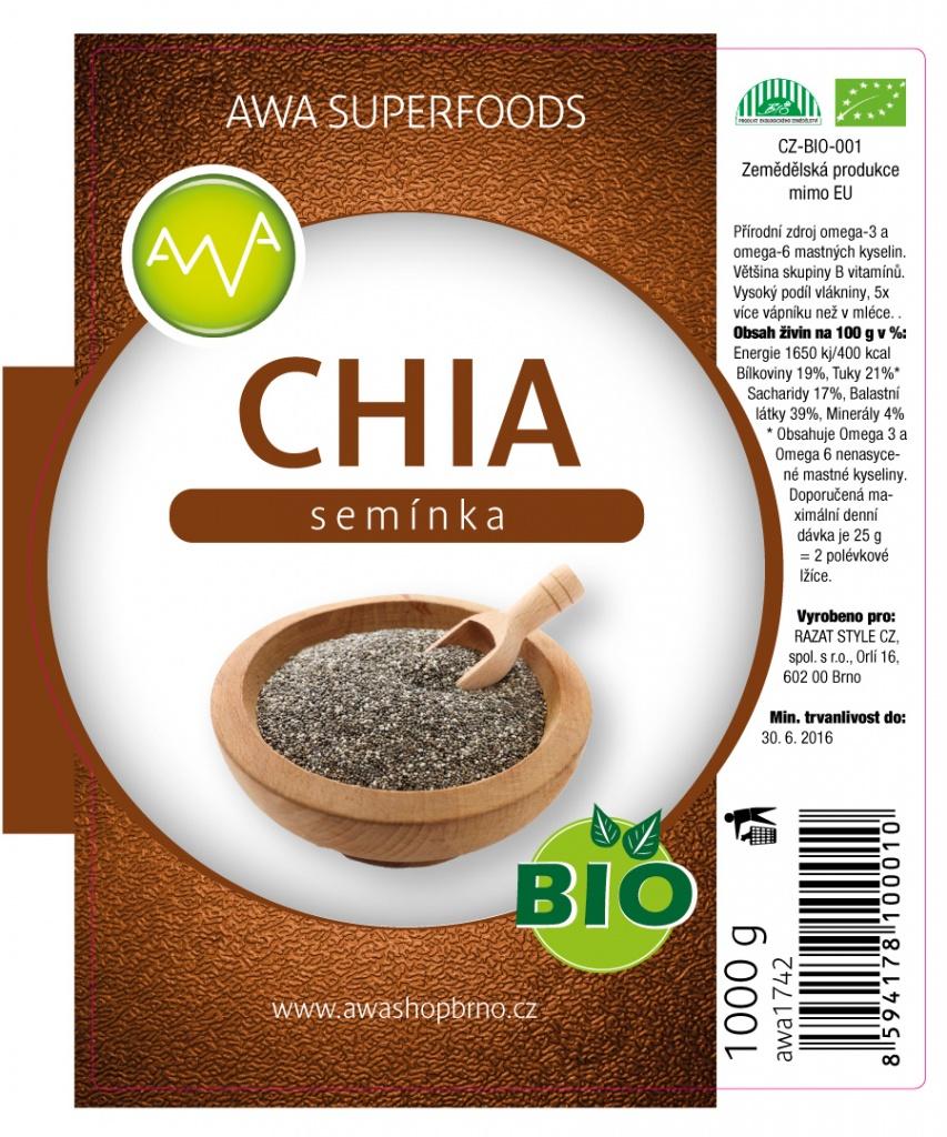 AWA superfoods Chia semínka BIO 1000g