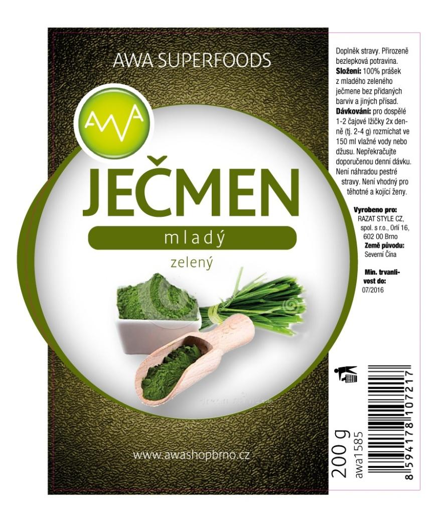 AWA superfoods Zelený mladý ječmen 2x200g