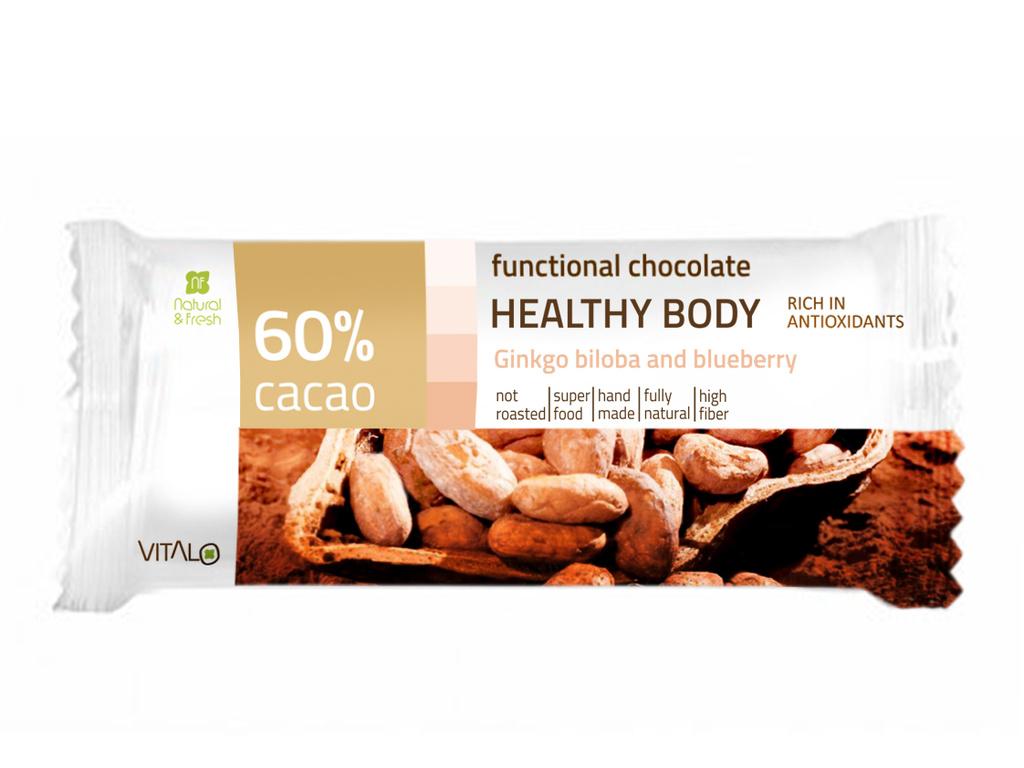 VITALO Funkční čokoláda HEALTHY BODY, Ginkgo biloba, 60% cacao 25 g