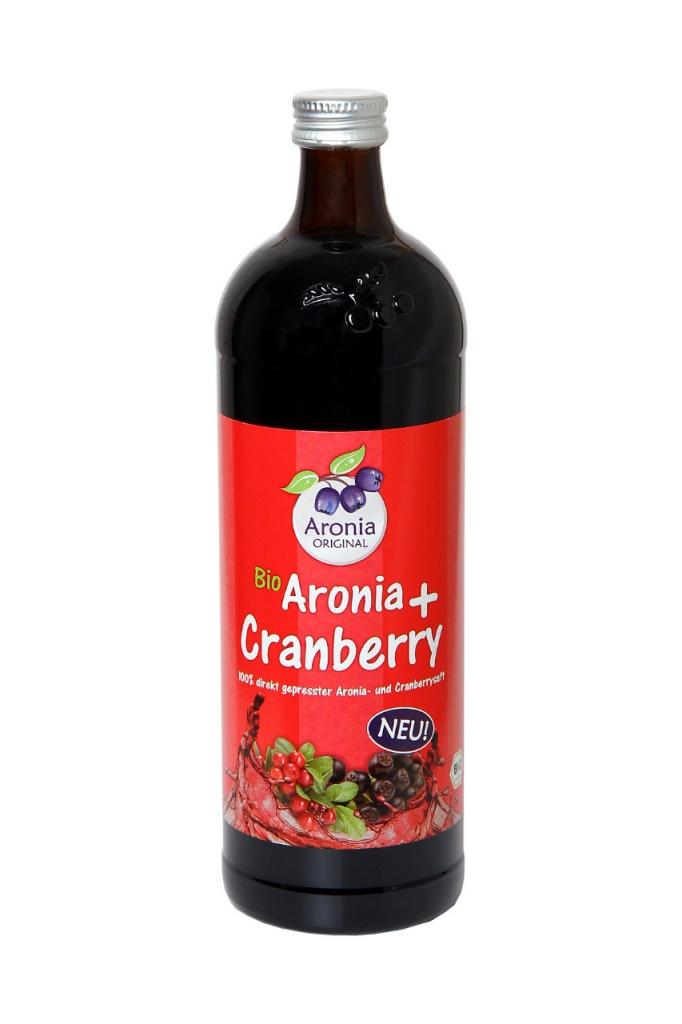 Aronia original Arónie (černý jeřáb, jeřabina) + Brusinka BIO, 100% čistá šťáva, 0,7 litru