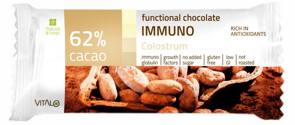 VITALO Funkční čokoláda IMMUNO, Colostrum, 62% cacao 25 g