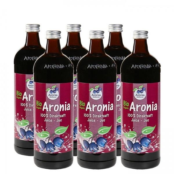 Aronia original Arónie BIO (černý jeřáb, jeřabina), 100% přímo lisovaná šťáva, 6x0,7 litru