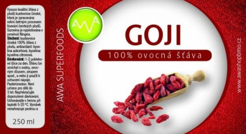 AWA superfoods Goji 100% šťáva 250 ml