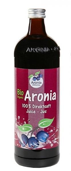 Aronia original Arónie BIO (černý jeřáb, jeřabina), 100% přímo lisovaná šťáva, 0,7 litru