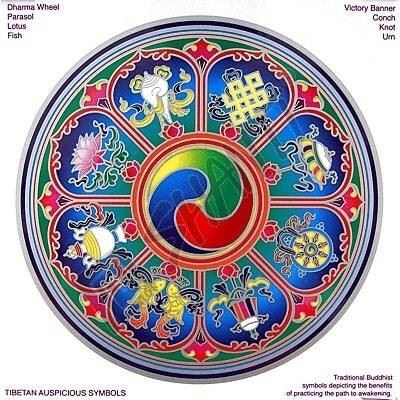 Mandala Sunseal V Tibetan Auspicious symbols