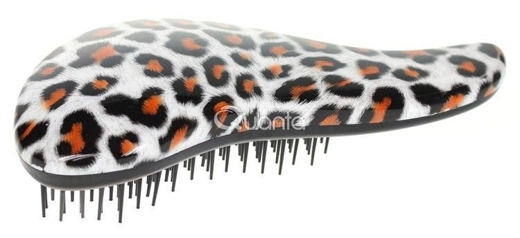 Detangler kartáč na rozčesávání vlasů s rukojetí růžový leopard