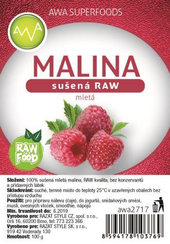 AWA superfoods sušená malina mletá RAW 100g